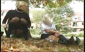 Sexy blonde Czech peeing behind a tree