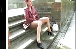 British milf peeing outdoor