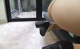 Peeing on a bondaged Japanese slut