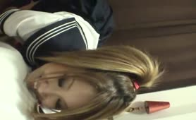 School girl pooping on her male slave