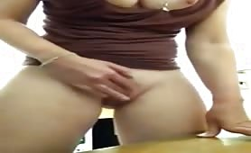 Busty teacher squirting in class room
