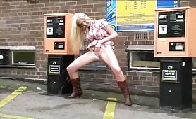 Two hot girls peeing in public